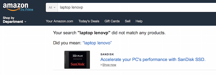 """Did you mean"" example on Amazon"