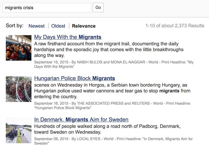 example of search results highlighting on the new york times