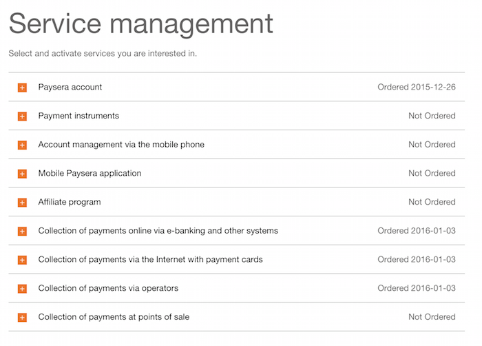 Paysera - service management